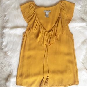 H&M Marigold Ruffled Tassel Blouse / Top
